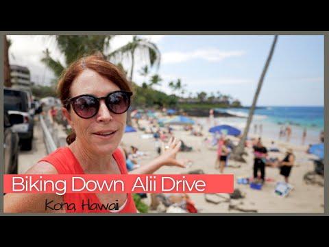 Biking Down Ali'i Drive, Kailua-Kona Hawaii